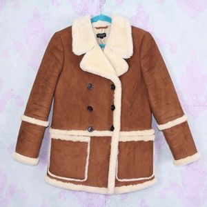 Topshop Faux Suede Shearling Double Breasted Coat